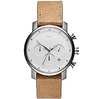 MVMT heren chronograaf kwarts horloge met lederen armband D-MC02-WT