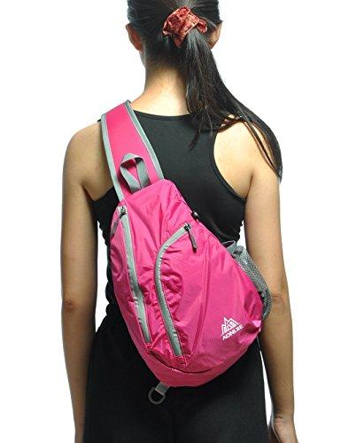 Ubagoo Multi-Function Sling Bag Schleuder Tasche Chest Pack Schulter-Rucksack Umhängetasche Rucksack für Outdoor Sportarten Schule Reisen Radfahren Wandern Rosa