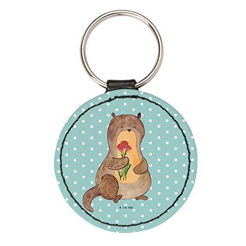 Mr. & Mrs. Panda Schlüsselband, Anhänger, Rund Schlüsselanhänger Otter Blumenstrauß - Farbe Türkis Pastell (Türkis-blumenstrauß)