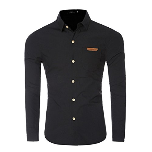 Men's Chemise Homme Long Sleeve Slim Fit Shirts Black