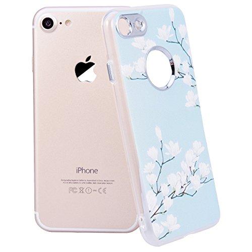 Cover iPhone 8,GrandEver iPhone 8 Custodia,3D Modello Design Morbido TPU Silicone Cover Slim Anti Scivolo Custodia Protezione Cover Case per iPhone 8 - Cucciolo Orchidea