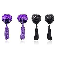Idea Regalo - Domowin Copricapezzoli in silicone, Donna Cuore scintillante Riutilizzabile Nipple Cover Una coppia di Pasties A forma di cuore 2 Coppia (Violett&Nero)