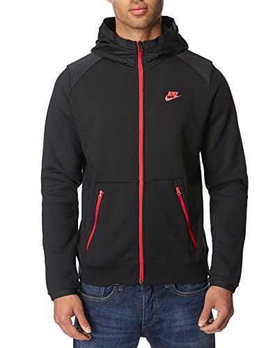 Nike Hybrid Fleece Tracksuit Top Hoodie (Large, Black/Red)