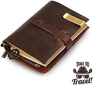Handgefertigt Notizbuch Leder Vintage, 13,5x10,2cm, braun,nachfüllbar Seiten Leder Tagebuch
