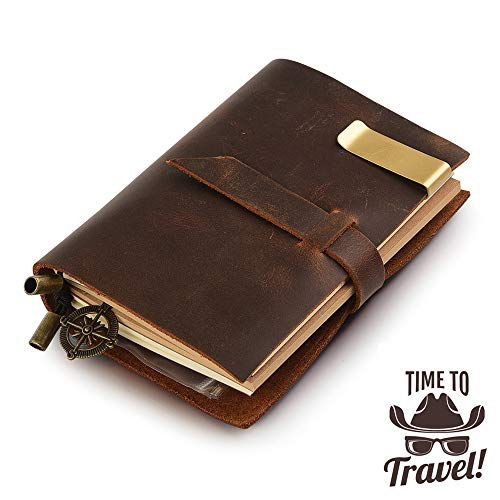 Handgefertigt Notizbuch Leder Vintage, 13,5x10,2cm, braun,nachfüllbar Seiten Leder Tagebuch - Seite Schnalle Schließung