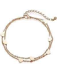 4709596b00d4 Pulsera en capas de oro rosa de las mujeres con colgantes del corazón