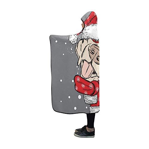 JOCHUAN Mit Kapuze Decke Hund Weihnachten Hut Sonnenbrille Decke 60 x 50 Zoll Comfotable Mit Kapuze werfen Wrap