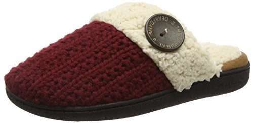 Dearfoams - Knit Closed Toe Scuff With Memory Foam, Pantofole Donna Rosso (Cabernet 10604)
