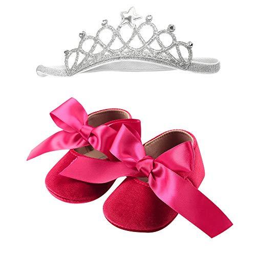 Jaysis 2 PCs Baby Mädchen Krone + Ballerinas Mädchen Spitze Bogen Lauflernschuhe, Sandalen Prinzessin Flache Tanzschuhe Mary Jane Kinder Schuhe Mary Jane Halbschuhe Pumps Mädchenschuhe