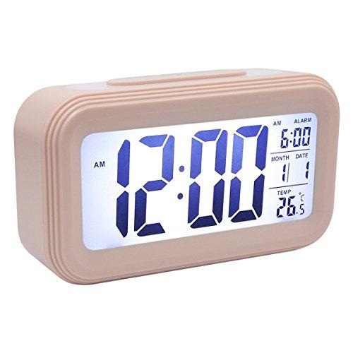 COOJA Reloj Despertador Digital con Sonido Fuerte, Alarma Despertador a Pilas con Numeros Grandes Snooze Luz Temperatura 12/24H, Despertadores de Viaje para Infantil Juvenil Niña (Rosa)