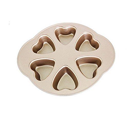 Cake Mould Heart-Shaped Antihaft-Kohlenstoffstahl-Backform-Ofen-Ausgangs DIY Verdickung 6 sogar Backform-Kuchen-Form, 2 Heart Shaped Cookie Pan