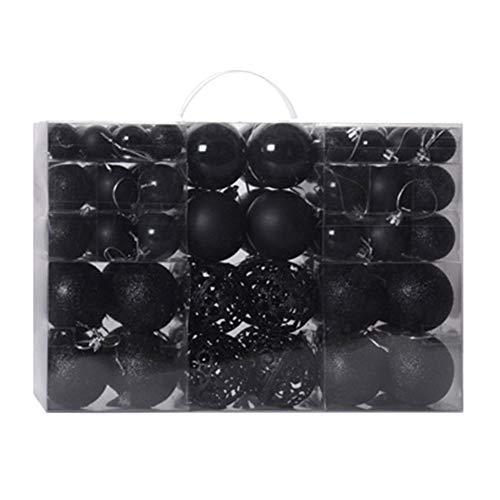 Oulike - set di 100 palle di natale per albero di natale, infrangibili, nero, 3-6cm