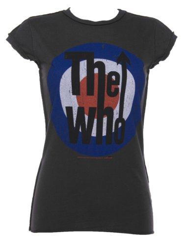 Amplified Damen, T-Shirt, WHO TARGET LADIES CREW TEE Black/Charcoal