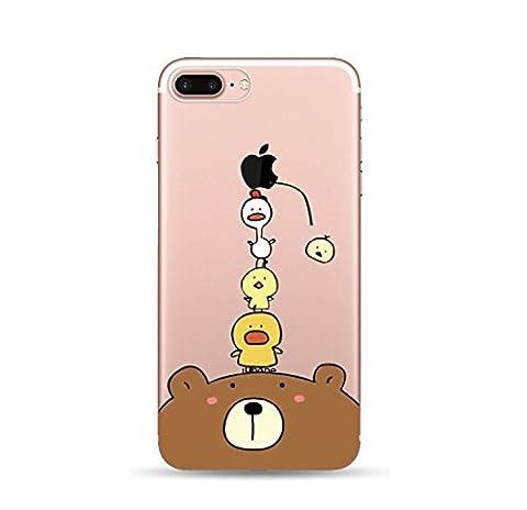 Incendemme Coque Housse / Etui Téléphone en Silicone Chat Mignon Ours Creatif Jouer avec la Pomme Fantasie Souple Transparent TPU Original pour iPhone (iPhone 5/5s/SE, Ours et Coq)