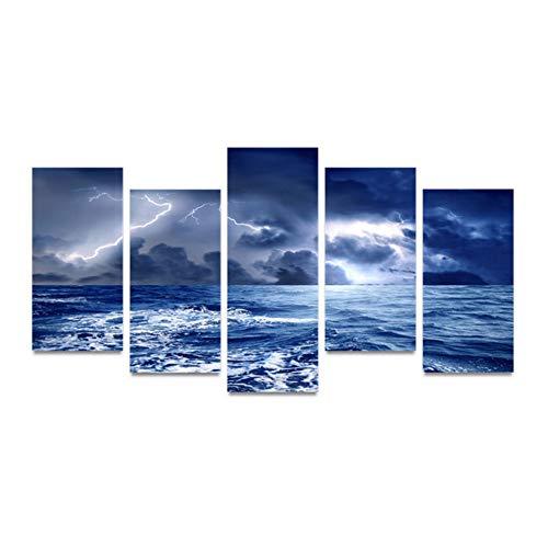 JKdianpu886 (Kein Rahmen) Hd Gedruckt Bilder Wohnkultur Wohnzimmer 5 Panel Blitz Überspannungsschutz Moderne Arbeit Leinwand Malerei Wandkunst Modulare Poster - Panel-Überspannungsschutz