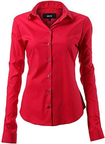 INFLATION Damen Hemd mit Knöpfen Baumwolle Bluse Langarmshirt Figurbetonte Hemdbluse Business Oberteil Arbeithemden Rot 43/16 -