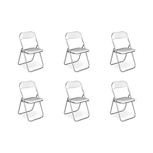 Esidra pieghevoli imbottite, set di 6 salvaspazio, sedie metallo e pvc, poltroncine richiudibili (bianco), unica,