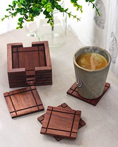 Handgemachte Set von 6 Holz untersetzer für Getränke mit Halter-Speicher-Caddy-Platz Absorbent Tee Kaffeetasse & Tassen Coaster Umweltfreundlich Antik-Design für Beschenken Antike Tee