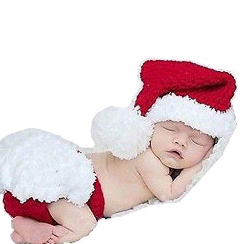 Handgefertigt Infant Newborn Baby Mädchen Boy Crochet Weihnachten Knit Mütze Hose Fotografie Requisiten OUTFITS Kostüm