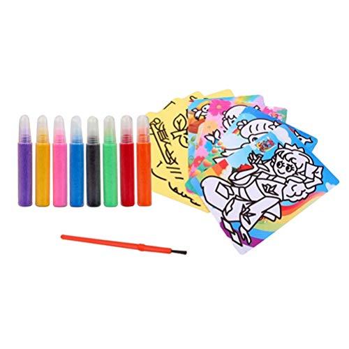 STOBOK Kinder farbige Sand malerei pädagogische DIY Handgemachten Sand malerei Set Sand Art Kits 1 stück (8 Arten von Farben)