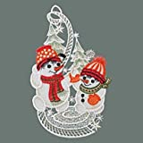 Raebel Fensterbild Spitze Plauener Stickerei Weihnachten Spitzenbild Deko Schneemänner + Saugnapf