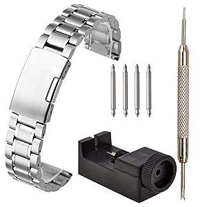 JSDDE Unisex Massiv Edelstahl Uhrarmband mit Faltschließe Federsteg Werkzeug 20mm Silber