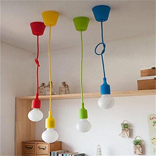 ALAMP Moderne Lampe Suspendue Luminaire Suspension Support Douille en Silicone EU Prise pour Ampoule E27 (Bleu)