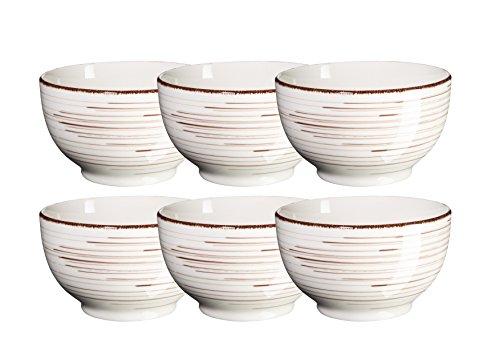 Mäser, Serie Bel Tempo, Müslischale 14 cm, Keramik Geschirr im 6er-Set, in der Farbe Beige
