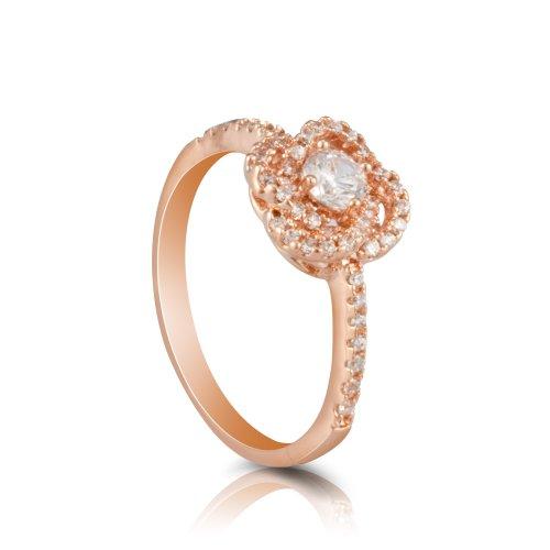 Fashion Plaza da donna in oro rosa, motivo: fiore rosa, con cristalli trasparenti, R408-Anello di (Anello Fiore Crystal Rose)
