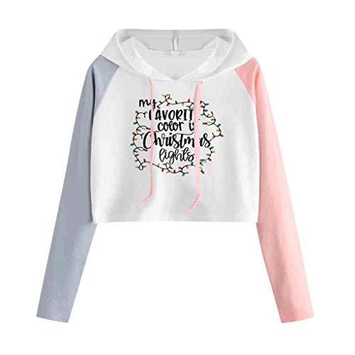 GOKOMO Kapuzenpullover Kurz Damen Hoodie Oversize Sweatshirt Autumn Girl Women Jumper Tops Long Sleeve Pullover(Rosa-3,Large) -