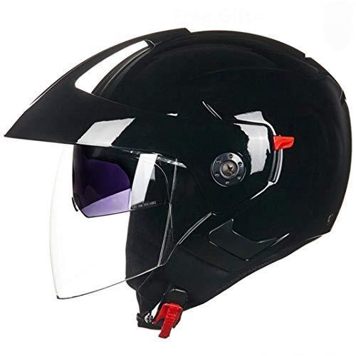 Matte Black Open Face Motorradhelm Abs Material Double Lens Motocross Racing Sicherheit Schutzkappen Leichter Komfort Elektrische Motorrad Schutzkappen - Mohawk Helm Fahrrad