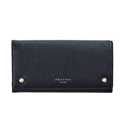 Mkulxina Borsa da Viaggio da Viaggio con Pochette in Pelle con Cerniera in Pelle PU per Donna (Color : Black)