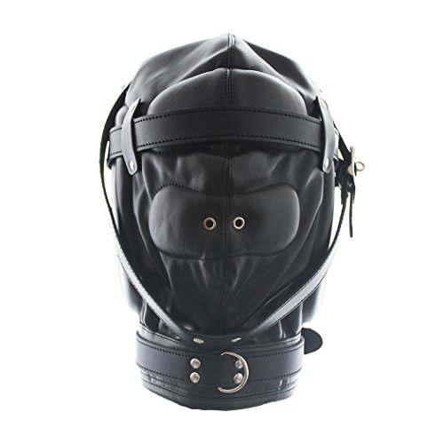 Raycity Schwarzes Leder Kostüm Gimp Maske Hood Style (Gimp Maske Kostüm)