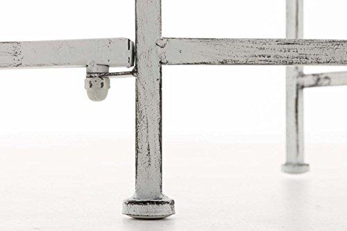 CLP Metall-Gartenbank AMANTI mit Armlehne, Landhaus-Stil, Eisen lackiert, Design antik nostalgisch, Form oval ca. 110 x 55 cm Antik Weiß - 8