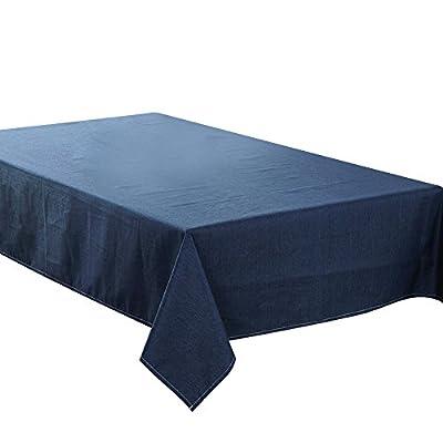 Tong Yue Tischdecke aus Baumwolle und Leinen, einfarbig, 100x 130cm, Blau von Tong Yue - Gartenmöbel von Du und Dein Garten