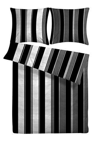 """Seersucker Bettwäsche-Set """"Nobla"""" 200 x 220 cm schwarz weiß grau gestreift- 3-tlg Bettdecke und Kopfkissen-Bezug aus 100%-Baumwolle für Paare - Der bügelfreie & luftig leichte Bett-Bezug für den Sommer"""