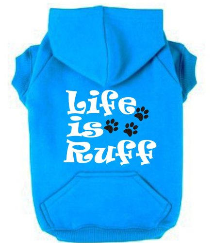 life-is-ruff-large-neon-blue-heather-fleece-dog-zip-up-hoodie-with-white-and-pearlescent-black-print