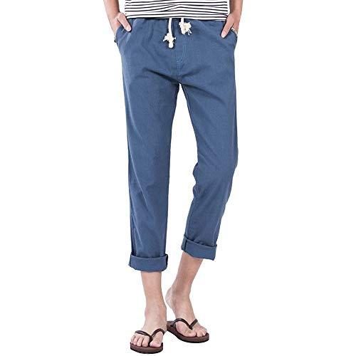 Hehgek Herren-Hose aus Leinen, schmal, einfarbig, leicht, elastischer Bund mit Taschen Gr. 41-44.5, blau -
