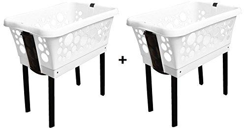 Wäschekorb-Set 2 Körbe aus Plastik mit Klappfüßen stabil und stapelbar in weiß, blau, schwarz, grün, rot, gelb, pink - Farbe wählbar (Wäschekorb-set)