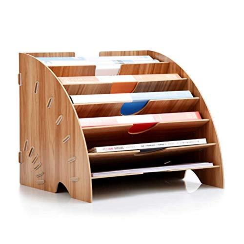 Unbekannt Mehrschichtiges Regal für Schreibtisch mit Schubladen - Mini-Schreibtisch-Aufbewahrung für Bürozubehör, Gewelltes Büro, Kleines Bücherregal, Schreibtisch Top Organisation. Kirsche -