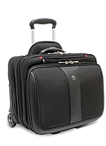 """Wenger 600662 PATRIOT 17"""" 2-Piece Business Set with Telescopic Trolley Handle, Overnight Compartment, with matching 15.4"""" laptop case and Lockable Zippers (Black)"""