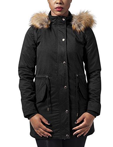 Urban Classics Ladies Sherpa Parka Wintermantel Winterjacke Damen | Teddyfutter Kapuze | schwarz | Gr. M