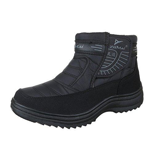 Ital-Design Winter-/Schneestiefel Herren Schuhe Warm Gefütterte Klettverschluss Stiefel Schwarz, Gr 41, 737-