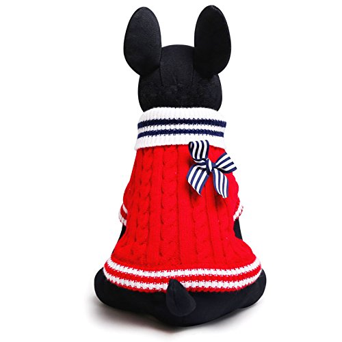 SMALLLEE_LUCKY_STORE Pull Pull-overs Veste Vêtement Tricot Manteau d'hiver Chaud pour Chihuahua Petit Chien Chaton Chat Rouge M