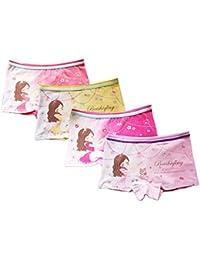 FAIRYRAIN 4 Packung Baby Kleinkind Mädchen Cartoon princess Baumwollunterhosen Pantys Hipster Shorts Spitze Unterwäsche