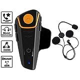 leegoal Auricular Bluetooth para Casco De Motocicleta, Intercomunicador Inalámbrico De Motocicleta Intercomunicador Compatible con El Comando De Voz por GPS, Manos Libres, Música, Radio FM