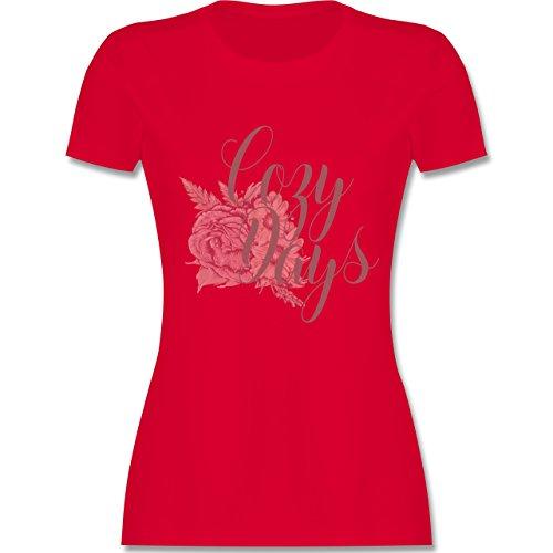Shirtracer Statement Shirts - Cozy Days Lettering - Damen T-Shirt Rundhals Rot