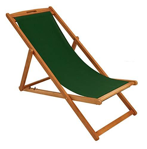 DEGAMO Liegestuhl Playa Eukalyptus Holz, Bezug dunkelgrün, klappbar