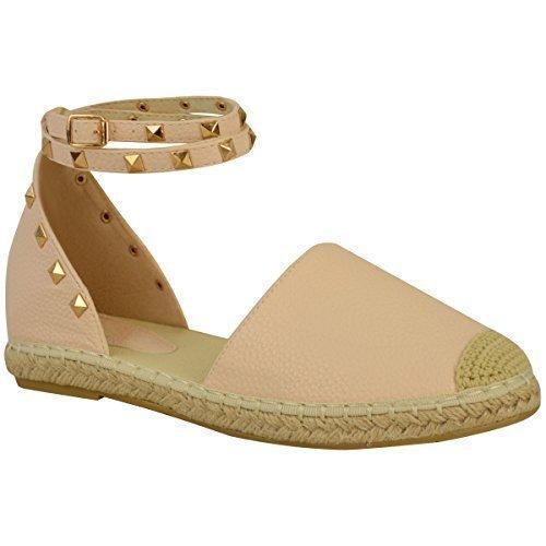 Damen Espadrille-Sandalen mit Knöchelriemen & Nieten - flache Sommerschuhe - Nude Kunstleder - EUR 38 (Flache Nieten Ferse)