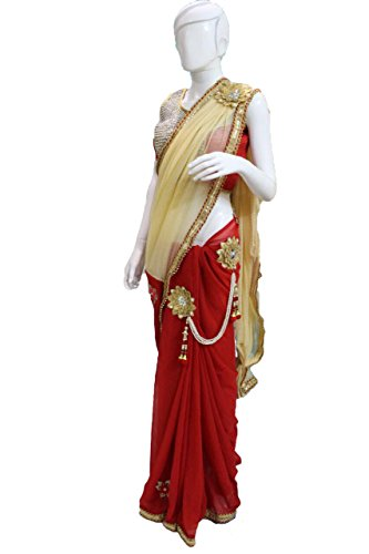 Stunning One Minute Red Saree (Ready To Wear)